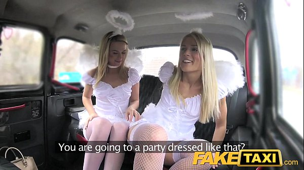 Two little angels share a single cock in the taxi