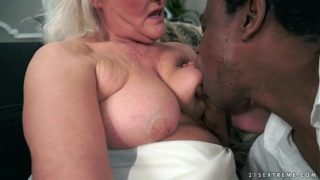 81 year old blonde devouring black cock in bed