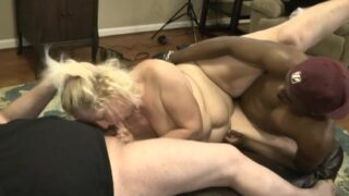 Old fat lady gets fucked by two of her daughter's friends